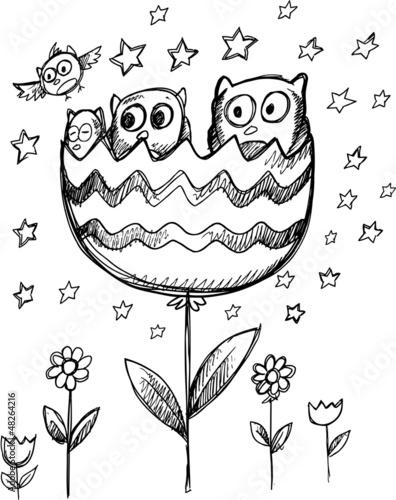 Sketch Doodle Spring Owl Flowers Vector Art