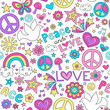 Peace and Love Groovy Doodle Seamless Vector Pattern