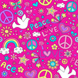 Dove Peace and Love Groovy Doodle Seamless Vector Pattern