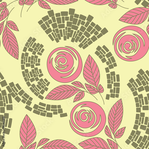 seamless floral pattern,  roses on floral background