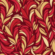 Seamless pattern with red and gold feathers vector texture