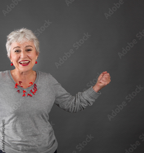 Happy older woman grey hair