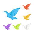Origami doves, set