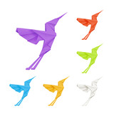 Origami hummingbirds, set