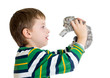 kid boy with kitten isolated on white background