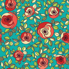 seamless vintage rose pattern on green background