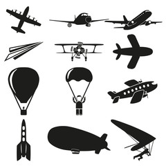 Set of black flying icons on white background