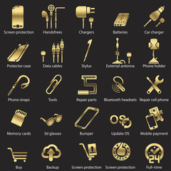 set Mobile servise web icons golden line