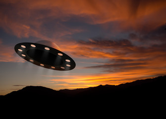 UFO aka Unidentified Flying Object at dusk