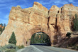 Road to Bryce Canyon through tunnel in the rock