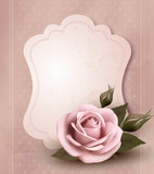 Retro greeting card with pink rose. Vector illustration.