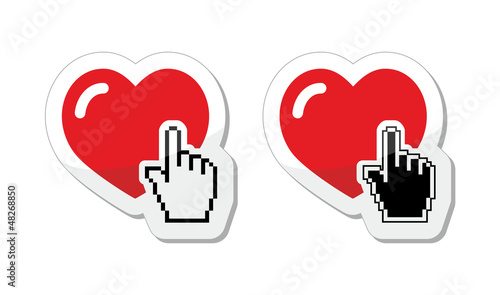 Heart with cursor hand labels - valentines, love