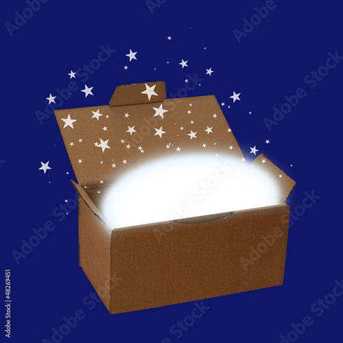 Surprise box or delivery with stars and copyspace, over blue - c
