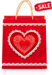 Valentines day red paper shopping bag with sale label