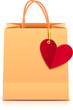 Vector paper shopping bag with heart label on golden ribbon