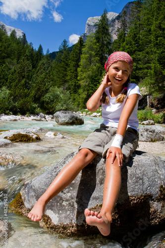 Kid on mountain hike -  Dolomites, Italy