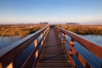 wooden bridge through canal
