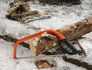 Preparation of firewood for a fire