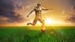 Fussballspieler Gold Ball Vorlage 3D