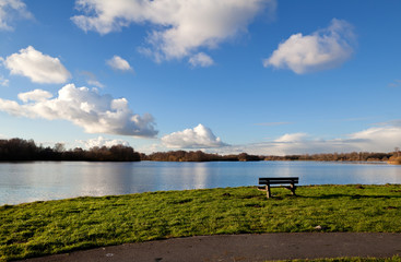 lonely bench by lake