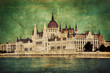 Hungarian parliament in Budapest, Hungary. Retro