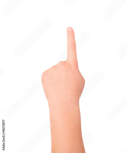 Touching or pointing child hand gesture