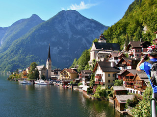 View of the city Hallstatt and the Hallstatt lake