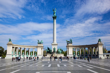 The Millennium Monument at Heroes' Square. Budapest, Hungary