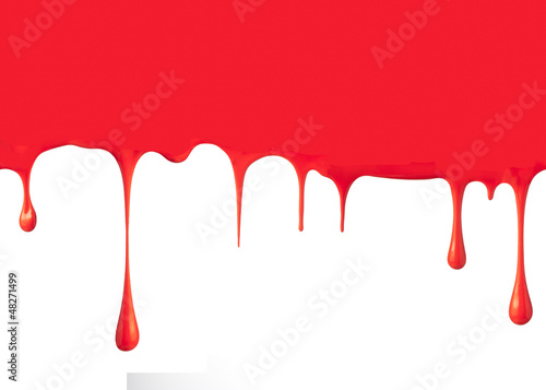 Paint dripping isolated on white