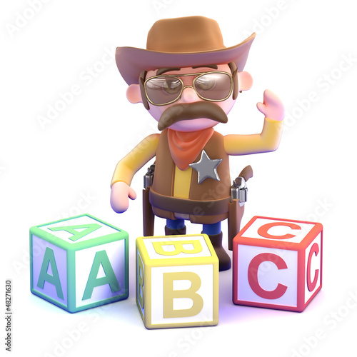 Cowboy plays with the alphabet