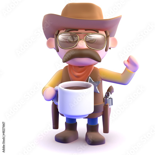 Cowboy drinks coffee from a mug