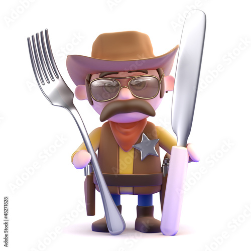 Cowboy with knife and fork