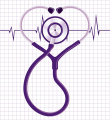 Stethoscope and heart cardiogram