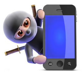 Ninja hides behind smartphone