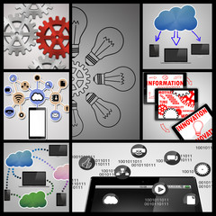 Collage of office equipment images