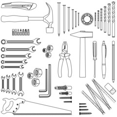 Outlined D.I.Y. hand tool set, illustration