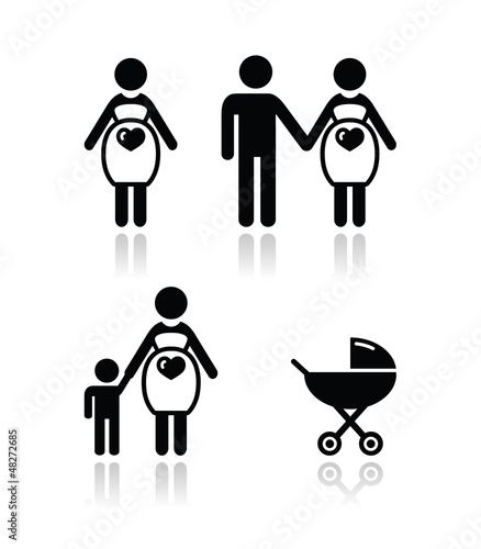 Pregnant woman vector icons set