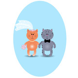 Wedding card with cute kittens in love. Vector illustration. Gre