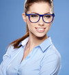 Portrait of happy smiling business woman in glasses