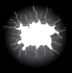 light hole with cracks on a dark background, illustration