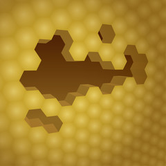 3d yellow honeycomb with honey, background