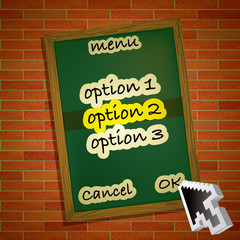 menu card on brick wall with mouse pointer