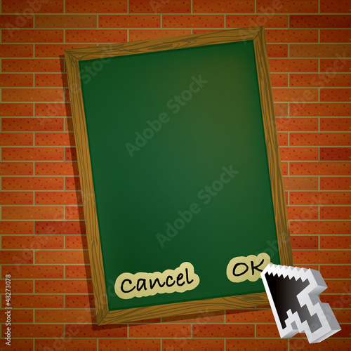 menu card on brick wall with mouse pointer arrow - illustration