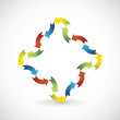 Abstract shape ornament created from color arrows - illustration