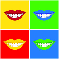 beautiful woman´s  mouth smiling - illustration.