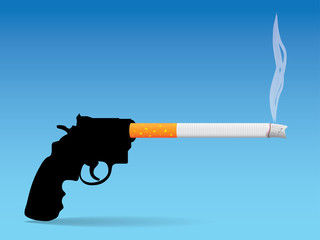 gun and cigarette - concept illustration