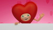 Valentine day greeting heart cartoon character
