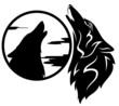 howling wolf tribal black and white vector