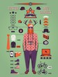 Hipster info graphic background,hipster elements and icons,