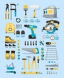 tools info graphic elements, tools icons
